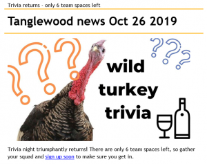 Turkey 300x237 - Tanglewood News and Events Update
