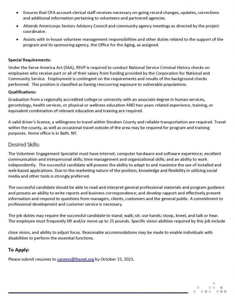 VOL ENGAGEMENT SPECIALIST  Page 2 791x1024 - Job Post: Volunteer Engagement Specialist (Contracted to Steuben RSVP)