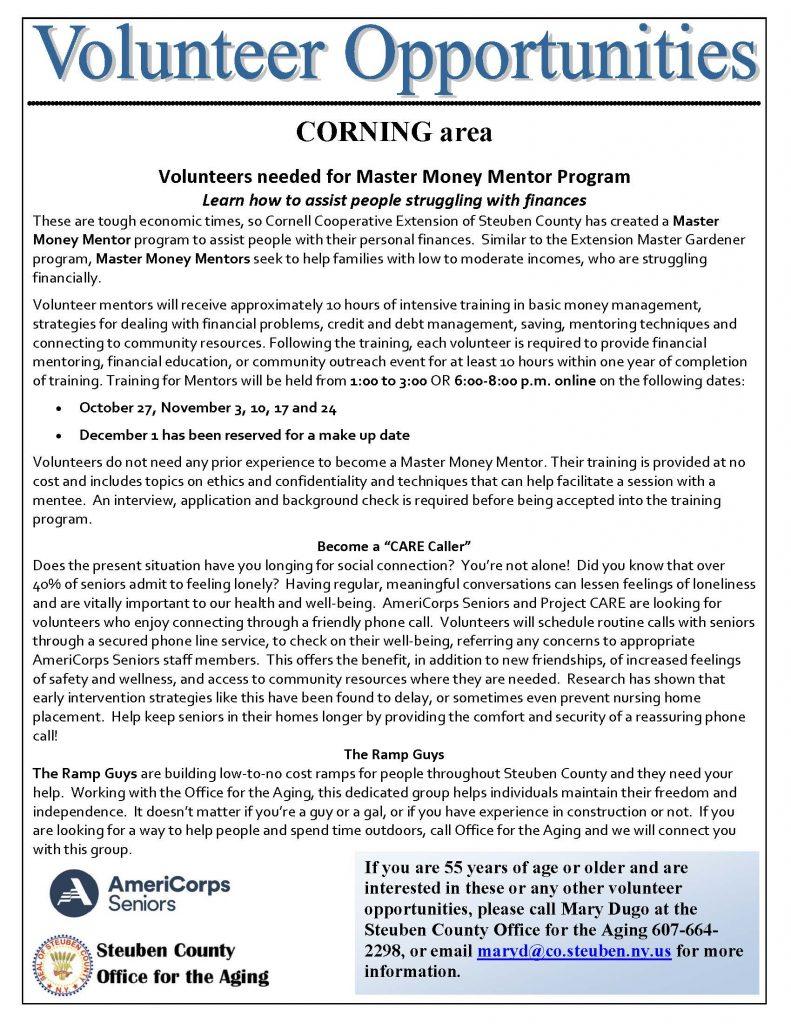 Volunteer Needs Corning area 1 791x1024 - AmeriCorps Seniors of Steuben County Needs Volunteers