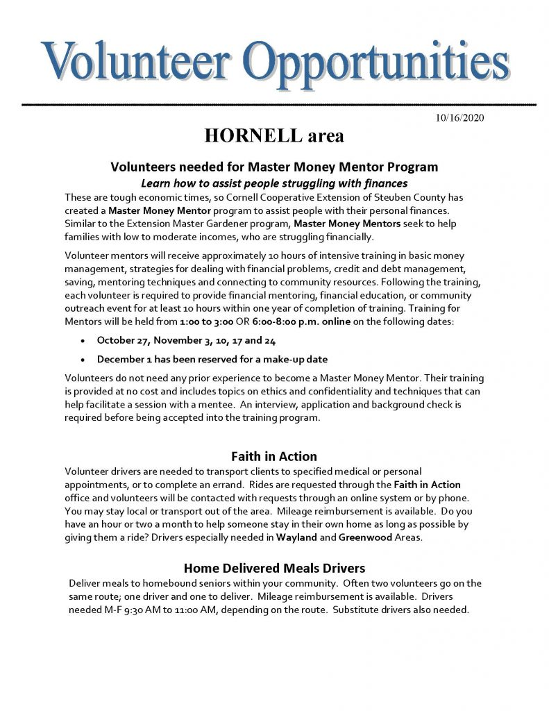 Volunteer Needs Hornell area 1 Page 1 791x1024 - AmeriCorps Seniors of Steuben County Needs Volunteers