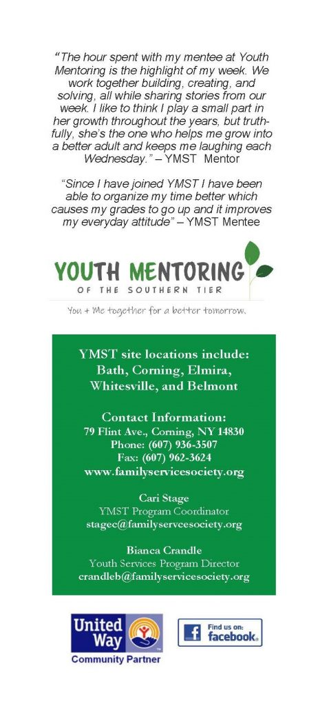 YMST Brochure New2 462x1024 - Youth Mentoring of the Southern Tier Seek Member Referrals