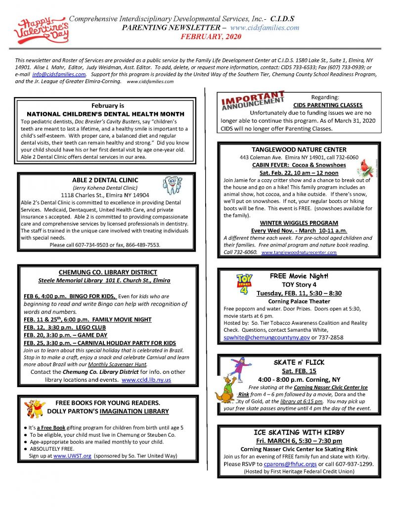 current FEB. 2020 Page 1 799x1024 - CIDS Parenting Newsletter