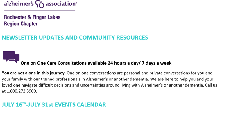 message - Alzheimer's Association Resources and Upcoming Events