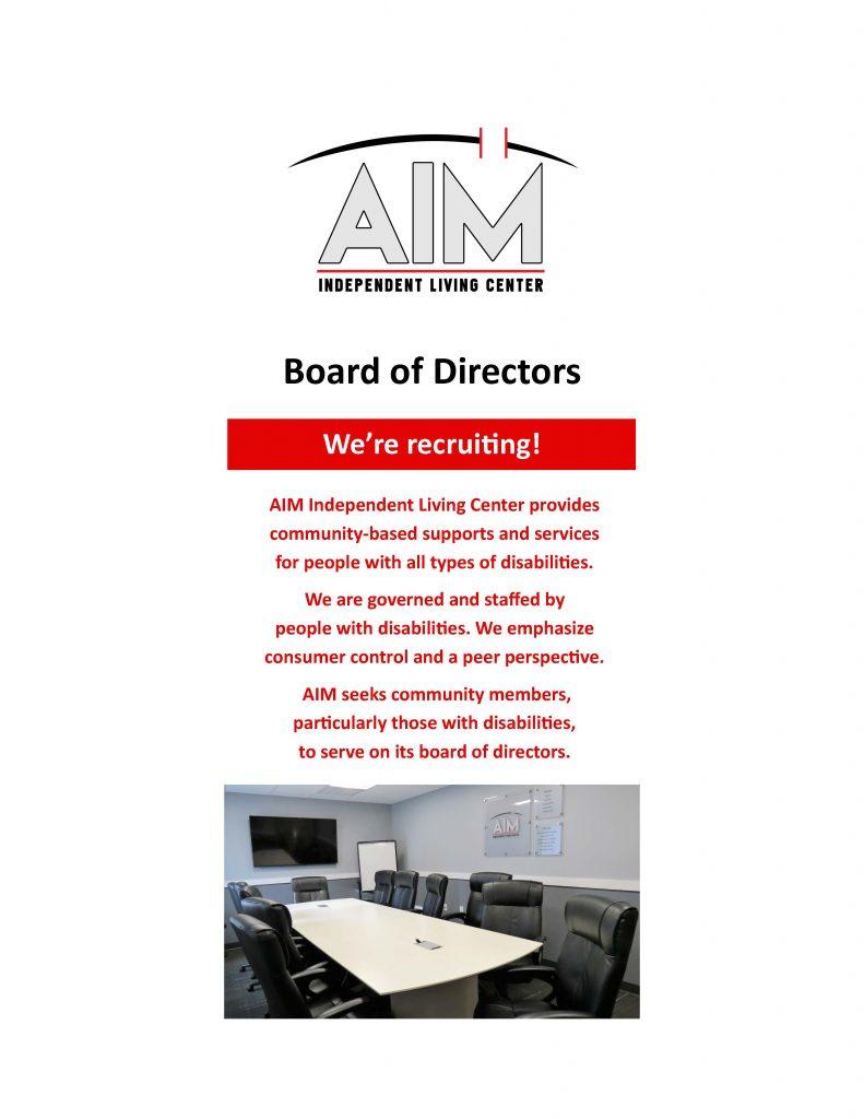 rack.card .Board .of .Directors Page 1 791x1024 - AIM Seeks Board Members