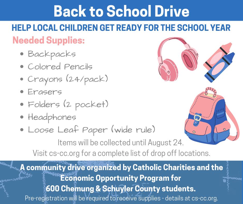untitledschooldrive - Catholic Charities & Economic Opportunity Program School Drive Needs Your Help